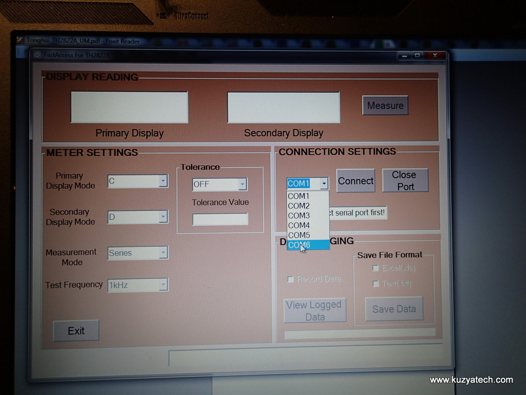 PC GUI listed 6 COM ports, never mind the one actually assigned to the device was COM8