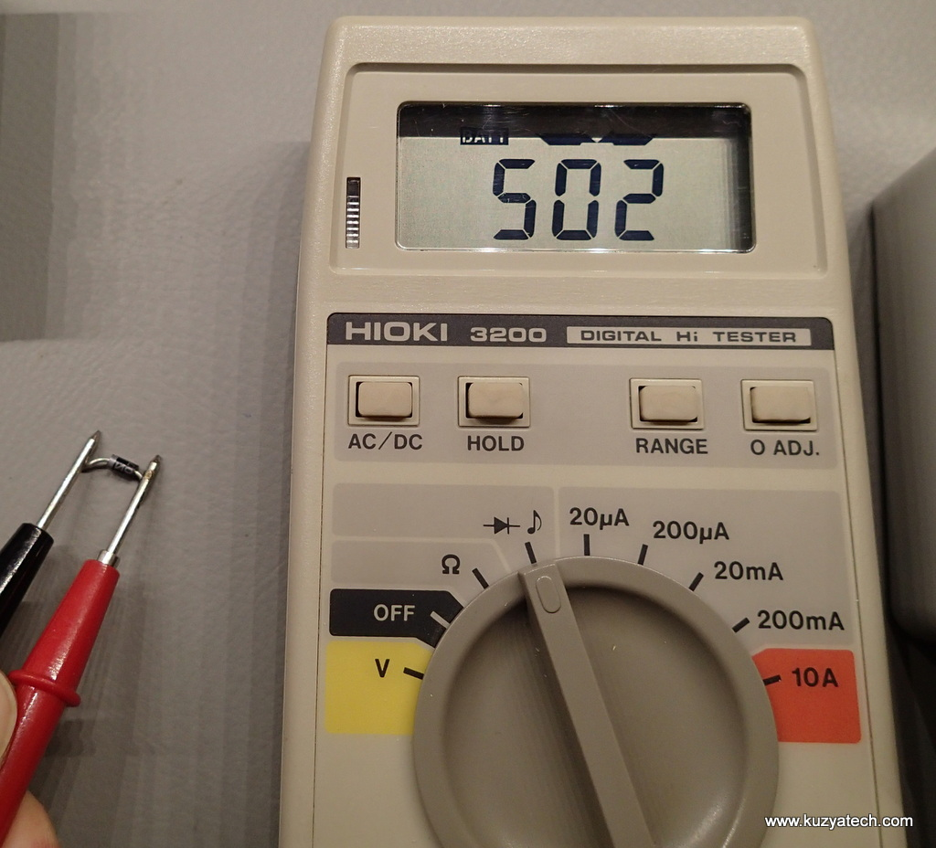 Diode test- measures forward voltage and beeps rather loudly