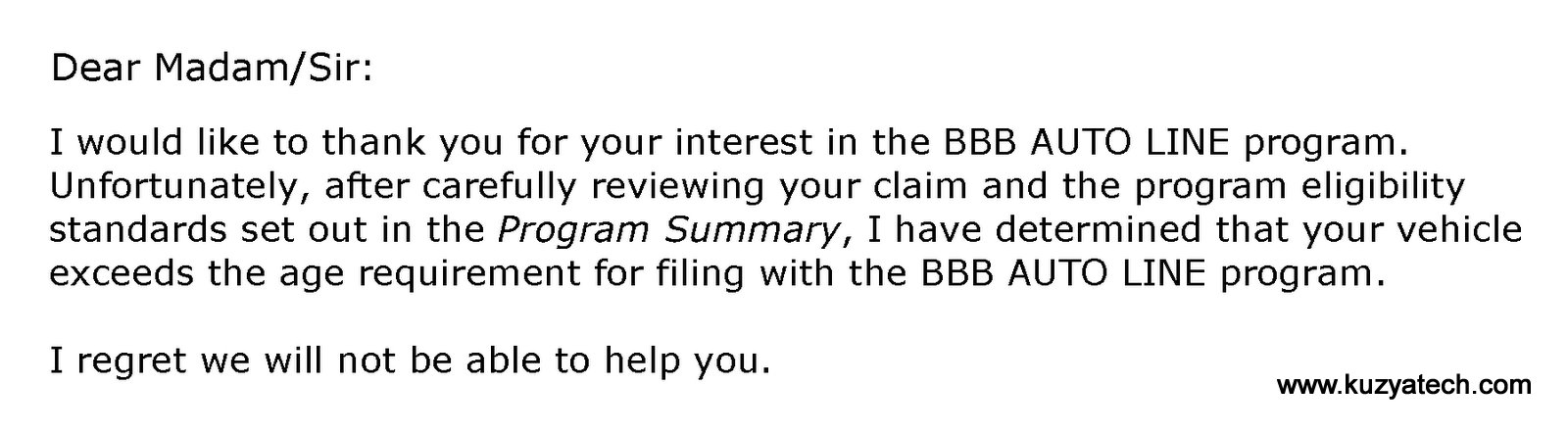 BBB responce