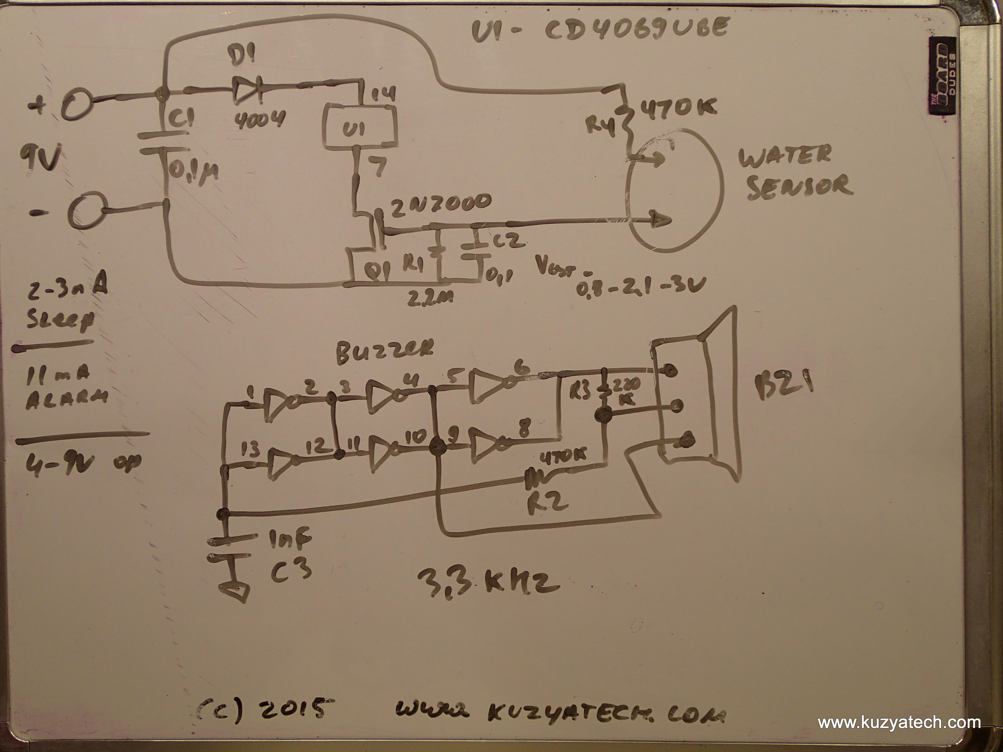 Watchdog Water Alarm Teardown Kuzyatech 9 Volt Buzzer Circuit Diagram The Driver Uses Six Inverters To Create An Oscillator With A Frequency Of Around 33khz Interestingly Enough Each Stage Is Doubled I Am